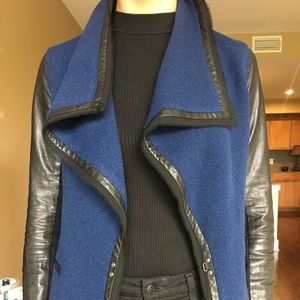 Vince Leather Sleeve Boucle Jacket Blue Black